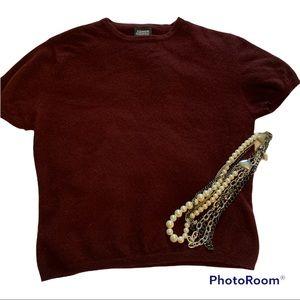 Jacob Burgundy 100% Lambswool Short Sleeve Sweater size Medium